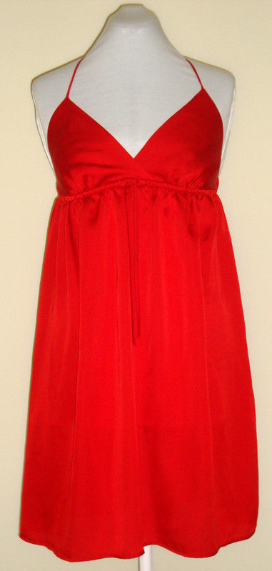 NWOT  OLD NAVY - RED SILKY HALTER EMPIRE COCKTAIL DRESS SZ MEDIUM