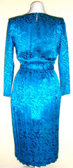 Vintage Silk Turquoise Blue Dress