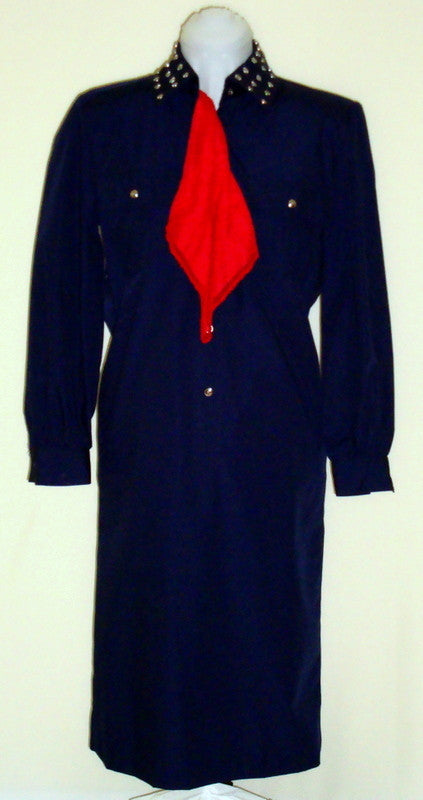 VINTAGE SCHRADER NAVY BLUE MILITARY SHIRT SILVER STUDDED DRESS SMALL 4