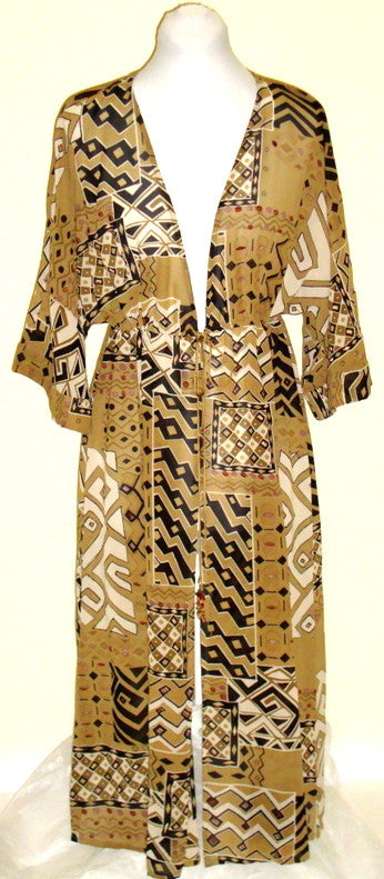 TAN EXOTIC PRINT SWIM BEACH POOL COVER DRESS W/ BEADED TIE SLEEVE SZ Medium
