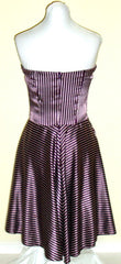 FEI ANTHROPOLOGIE PURPLE WHITE STRIPED SILKY STRETCH COCKTAIL DRESS LARGE