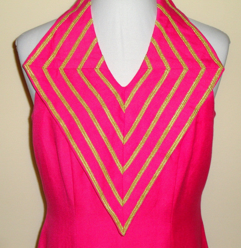 Vintage Lalaldi Hot Pink Fuschia Linen Gold Detailed Diamond Collar Dress