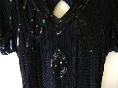 Vtg Black Sequined Beaded Silk Cocktail Flapper Great Gatsby Dress