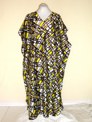 [VINTAGE] WINLAR - GRAY YELLLOW WHITE GRAPHIC CAFTAN SZ ONE SIZE FITS ALL