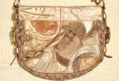 COACH GOLD LEATHER SUEDE PATCHWORK BAG PURSE
