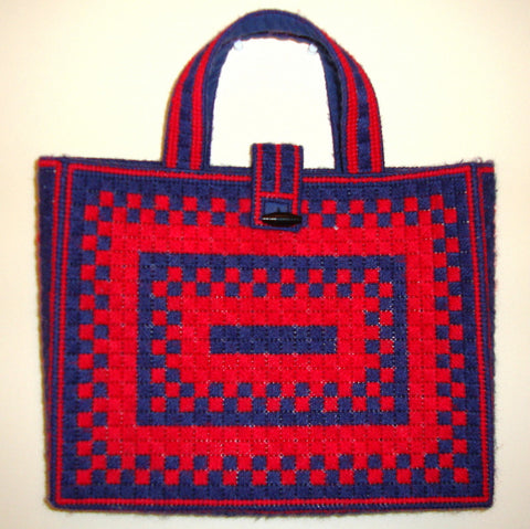 [VINTAGE]  AMERICANA TOTE [VINTAGE] RED & NAVY BLUE HAND CROCHET GEOMETRIC BAG