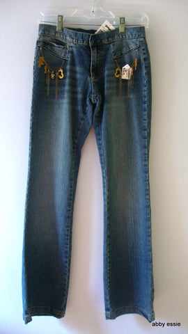 NWT LADY ENYCE FADED BLUE DENIM DISTRESSED JEANS W/ GOLD CHAIN SZ 1 juniors