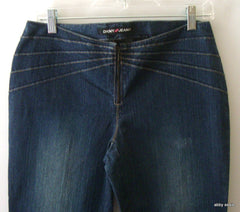 DKNY JEANS DARK BLUE POCKETLESS SUNBURST SEAM DENIM STRETCH JEANS SIZE 9 JUNIORS