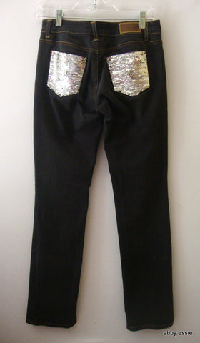 ROCAWEAR FADED DARK DENIM JEANS W/ SEQUINED BACK POCKETS SZ 3 JUNIORS