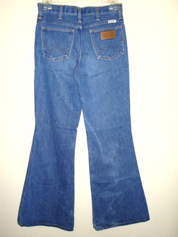 [VINTAGE] WRANGLER - DENIM LEATHER ON POCKET JEANS SMALL XS [JUNIORS]