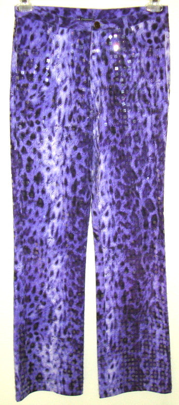 VINTAGE OLEG CASSINI DISCO ROCK STAR PURPLE SEQUIN ANIMAL PRINT STRETCH PANTS 6