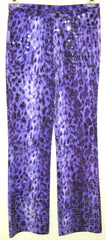 Vintage BILL BLASS Disco Rock Star Purple Sequin Animal Print Stretch Pants