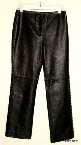 Black Leather Lace-Up Sides Rock Star Pants