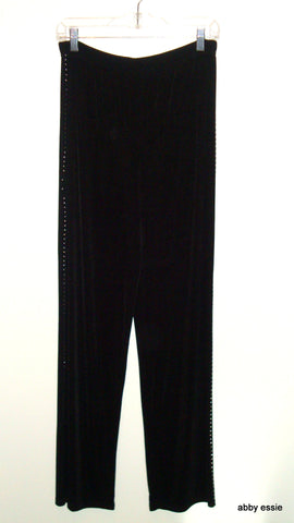 BLACK STRETCH SILVER STUDDED KNIT COCKTAIL CAREER LOUNGE PANTS LARGE [12 14]