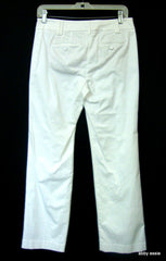 Ann Taylor Loft Petites White Flat Front Stretch Career Cocktail Casual Pants 2p