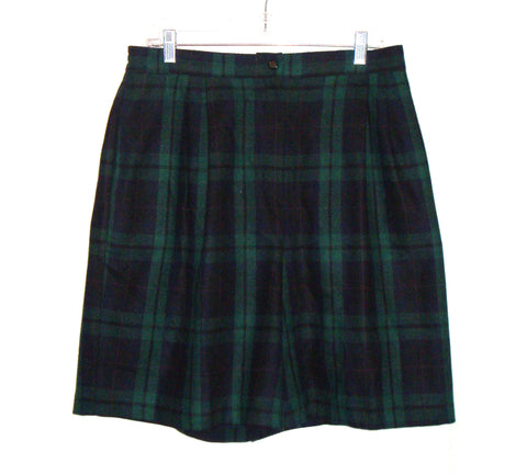 SAG HARBOR Woman Green Blue Wool Plaid Shorts 16w PLUS WOMENS XL