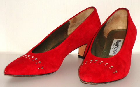 Vintage Red Suede Studded Kitten Heel 80s Pumps