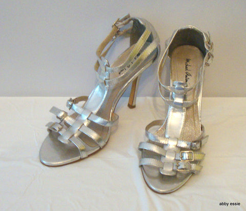Michael Antonio Silver Stiletto Sandals 8.5m