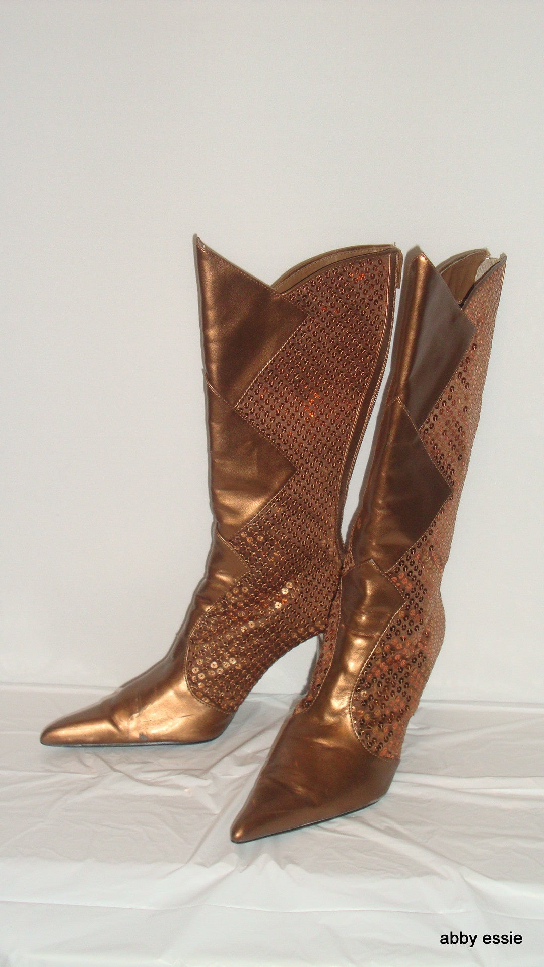Paprika Bronze Brown Sequin Rocker Club Go-Go Stiletto Boots 8.5
