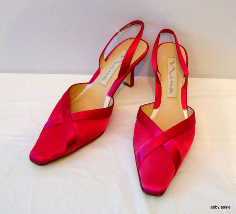 Hot Pink Satin Sling Back Mules 8.5M