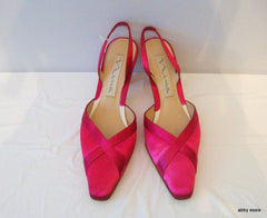 NINA PINK FUSCHIA SATIN FORMAL WEDDING MULES 8.5M