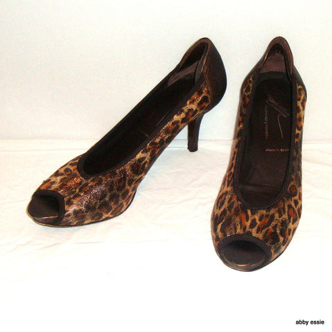 Donald J Pliner Animal Print Cheetah Shimmer Suede Leather Peep Toe 9m Leather S