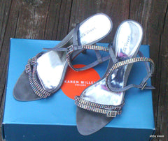 KAREN MILLEN SILVER GRAY PEWTER RHINESTONE COCKTAIL FORMAL STILETTOS 8