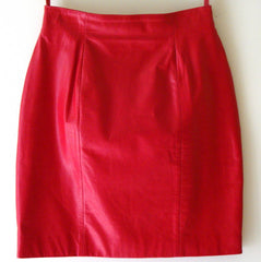 Vintage Sexy Red Leather Mini Pencil Skirt