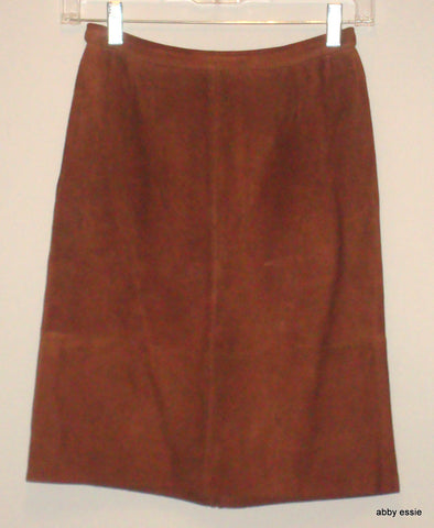 VINTAGE VALENTINO MADE IN ITALY BROWN SUEDE LEATHER SKIRT EU 40 US 4 6 small