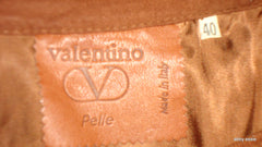 Vintage Valentino Made In Italy Brown Suede Leather Skirt