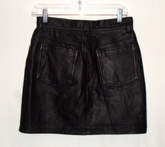 GUESS Black Leather Mini Skirt  Rocker Goth Club 8 like a 6 100% leather