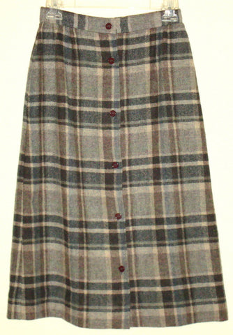 [VINTAGE] COBBLESTONES - GRAY PLAID WOOL BUTTON-UP SKIRT SZ 7 JUNIOR