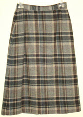 Vintage Cobblestones Gray Plaid Wool Button-Up Skirt