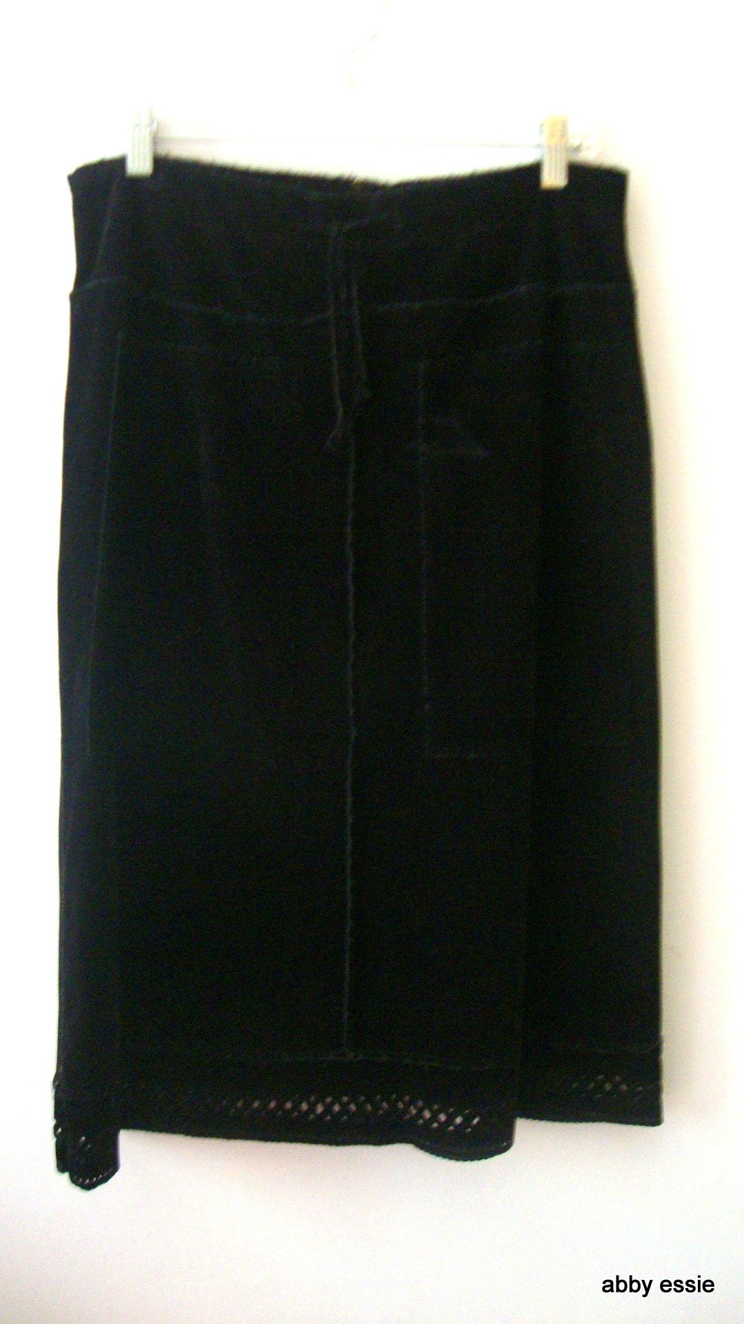 Cosmos Distressed Black Velvet Skirt W/ Cutout Hem, Drawstring