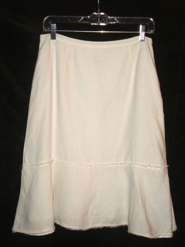 HAROLD'S WHITE LINEN SKIRT W/ DECONSTRUCTED HEM SIZE 6 SMALL LSK-904
