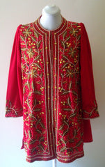 Rare Exotic Gold Copper Pearl Silver Vintage Pink Red Tunic Coat