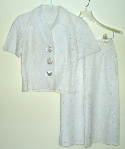 VINTAGE ANTIQUE WHITE EYELET LACE DECO GOTH SKIRT SUIT SMALL XS 0 2 4