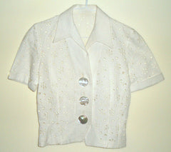 Vintage Antique White Eyelet Lace Deco Goth Skirt Suit
