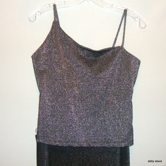 UNCIVILIZED 2 PC METALLIC PEWTER GREY BODYSUIT SPAGETTI STRAP TANK W/BOOT CUT STRECTH PANTS SZ SMALL