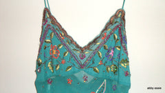 Luxury Sexy Silk Turquoise Blue Sue Wong Beaded Cocktail Formal Tank Top Small