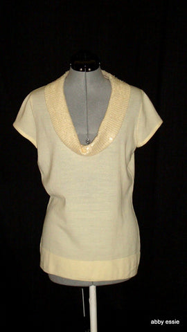 Harolds Cream White Sequin Collar Cocktail Formal Sweater