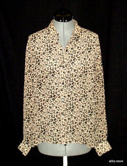 Liz Claiborne Lizsport  Beige Tan Brown Cheetah Animal Sheer Silky Blouse 10