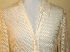 [VINTAGE] DANA BUCHMAN CREAM SEE THRU ROUND GEOMETRIC DESIGN BLOUSE 12 [large]