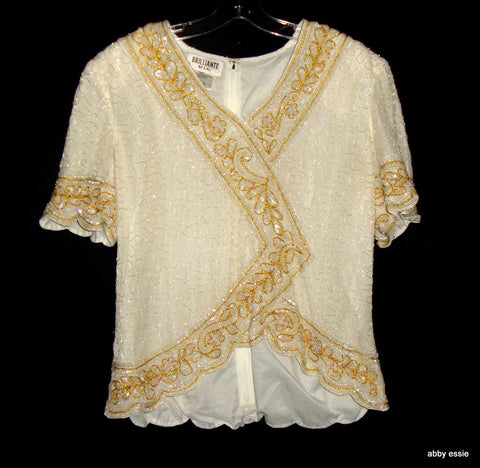 VINTAGE BRILLIANTE CREAM WHITE SEQUINED SILKY BLOUSE W/ GOLD 100% SILK