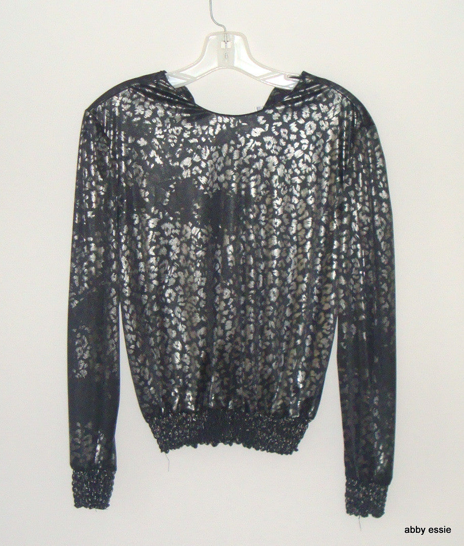 VINTAGE SILVER LEAF BLACK SILVER SHINY POLYESTER STRETCHY COCKTAIL CLUB TOP SZ S