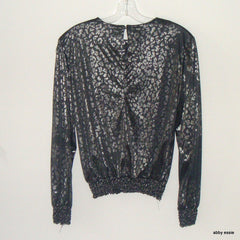 Vintage Silver Leaf Black Silver Shiny Polyester Stretchy Cocktail Club Top
