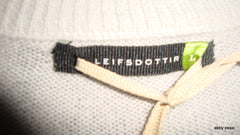 LEIFSDOTTIR GRAY CASHMERE SILK ZIPPER RUFFLE SWEATER LARGE LT-2586