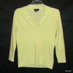 MAGASCHONI YELLOW LIME GREEN 100% CASHMERE SWEATER SMALL LT-2596