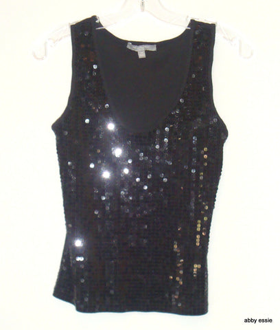 Ny Collection Petites Black Sequin Tank Top