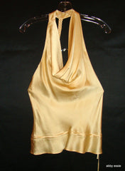 Jak & Rae Cream Beige Champagne Silk Cowl Neck Halter Tank Braided Small
